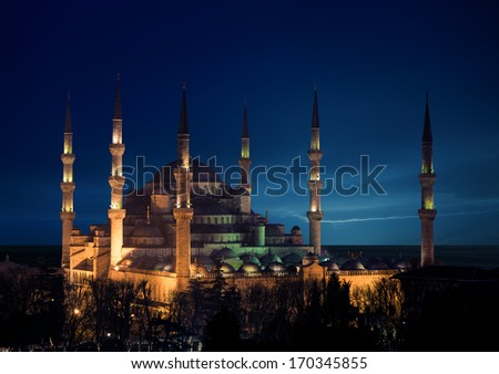 Blue mosque at night, Istanbul, Turkey - stock photo