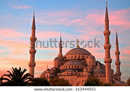 Blue Mosque at Sunrise, Istanbul - stock photo