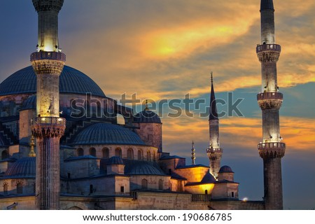 Blue Mosque at Sunset - stock photo