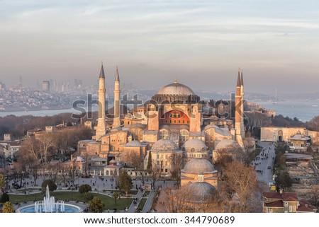 Blue Mosque, Hagia Sophia, the minarets of long exposure.Hagia Sophia , Istanbul , Turkey .  - stock photo