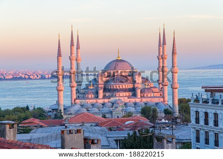 Blue mosque in glorius sunset, Istanbul, Sultanahmet park. The biggest mosque in Istanbul of Sultan Ahmed (Ottoman Empire). - stock photo