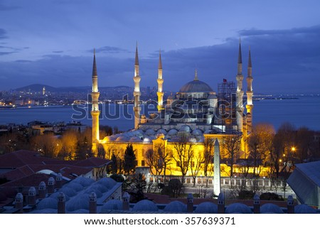 Blue Mosque in Istanbul at pre-dawn hours, from a higher point of view. - stock photo