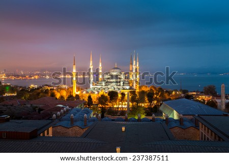 Blue Mosque in Istanbul at sunset, from a higher point of view. - stock photo