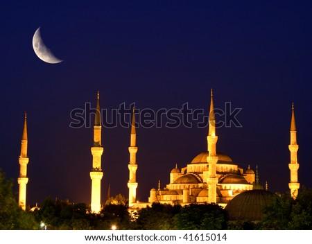 Blue mosque in Istanbul. Night scene. - stock photo