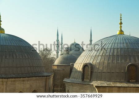 Blue Mosque in Istanbul shot from Sophia Hagia, Turkey - stock photo
