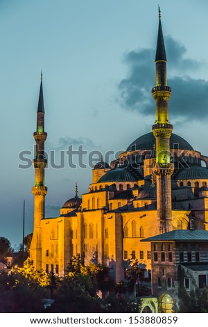 Blue Mosque in Istanbul, Turkey View at early evening. Sultan Ahmed Mosque - stock photo