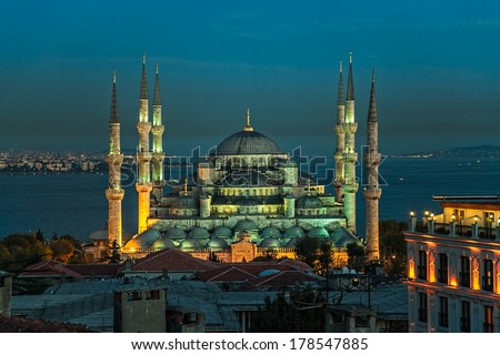 Blue mosque in the evening, Istanbul, Sultanahmet park. The biggest mosque in Istanbul of Sultan Ahmed (Ottoman Empire). - stock photo