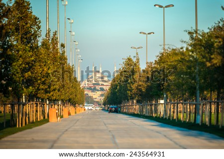 Blue Mosque is seen from the park on Bosphorus quay in Istanbul, Turkey. - stock photo