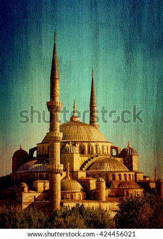 Blue mosque of Istanbul or Sultanahmet, historic famous religious landmark, great touristic place, Turkey, vintage textured photo - stock photo