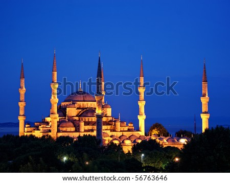 Blue Mosque on night in Istanbul - stock photo