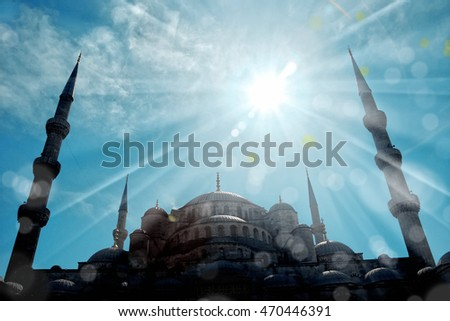 blue mosque over sunny sky in Istanbul, Turkey