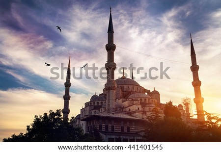 Blue mosque silhouette at sunset in Sultanahmet park, Istanbul, Turkey - stock photo