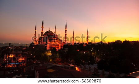 Blue Mosque (Sultan Ahmed Mosque) during a beautiful sunset. Istanbul, Turkey - stock photo