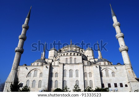 Blue mosque with blue sky in Instanbul, Turkey - stock photo