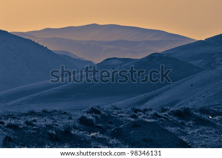 Blue mountain silhouette - stock photo