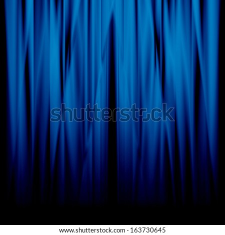 blue movie or theatre curtain with a bright spotlight - stock photo