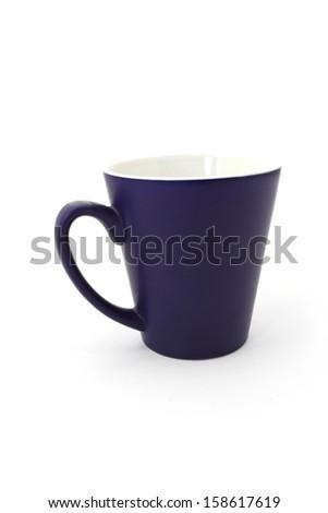blue mug on a white background  - stock photo