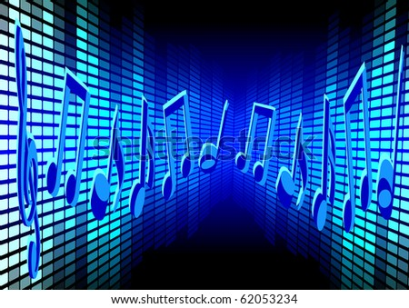 Blue Music Background - stock photo