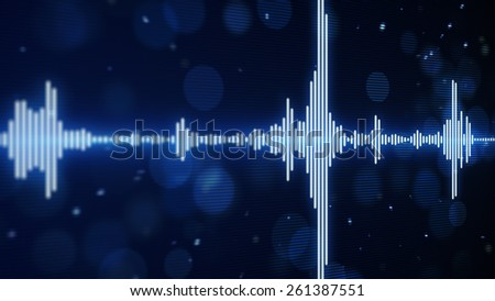 blue music equalizer. Computer generated abstract background - stock photo