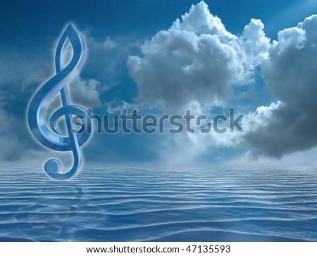 Blue music symbol in a harmonious seascape - stock photo
