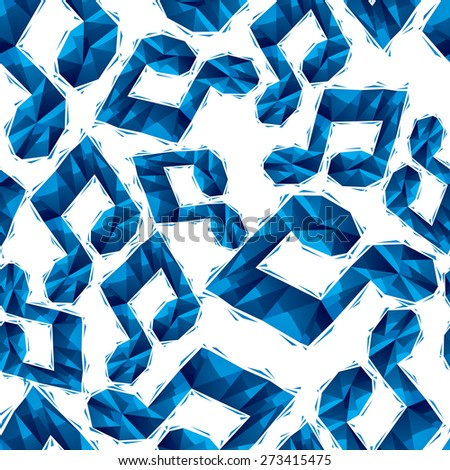 Blue musical notes seamless pattern, geometric contemporary style repeating vector background, best for use as web backgrounds and wallpapers. - stock photo