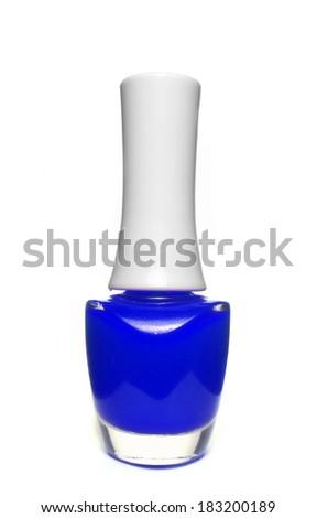 blue nail polish bottle on white background - stock photo