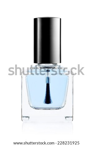 Blue nail polish bottle on white background  - stock photo