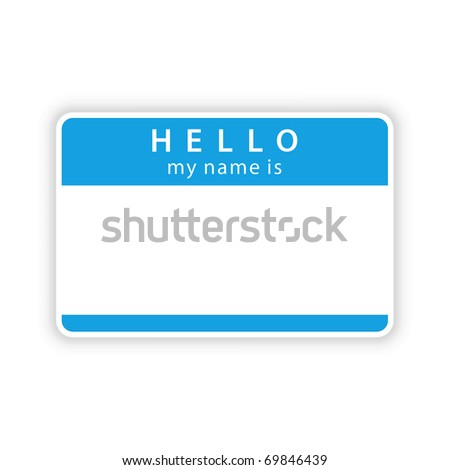 Blue name tag sticker with shadow on white. Bitmap copy my vector ID: 50107471 - stock photo