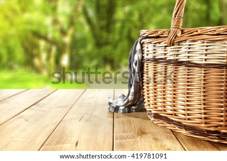 blue napkin and basket place  - stock photo