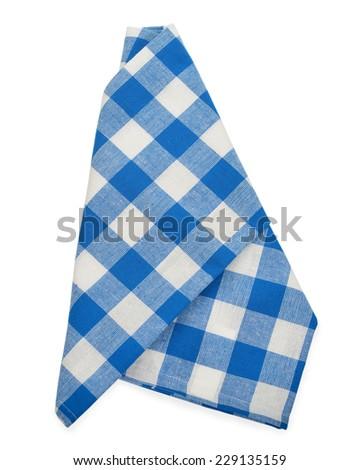 blue napkin isolated on white background - stock photo