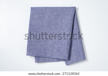 blue napkin on white background - stock photo