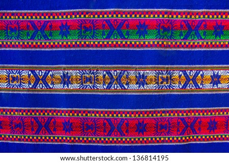 Blue national pattern of bolivian indigenous peoples - stock photo