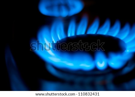 Blue Natural Gas Flames - stock photo