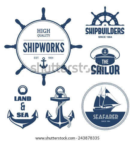 Blue nautical signs and labels - stock photo