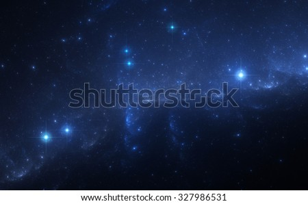 Blue Nebula in Deep Space - stock photo