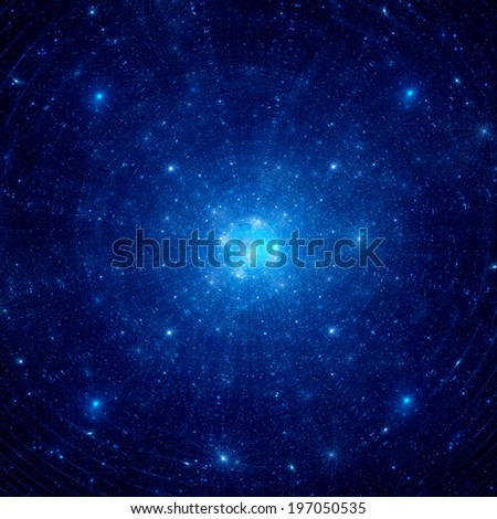 Blue nebula in deep space, computer generated fractal background - stock photo