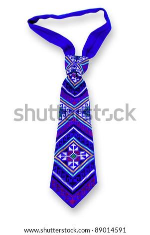 blue Necktie on white background - stock photo