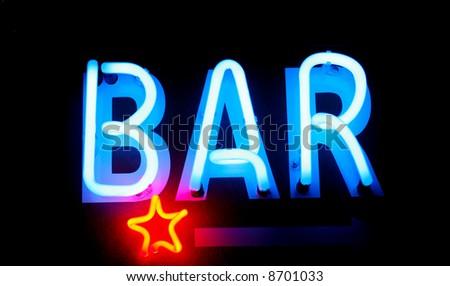 Blue neon bar sign. Advertising neon sign glow in dark - stock photo