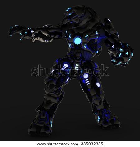 blue neon black robot side attack - stock photo