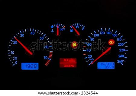 blue neon car dash board,isolated - stock photo