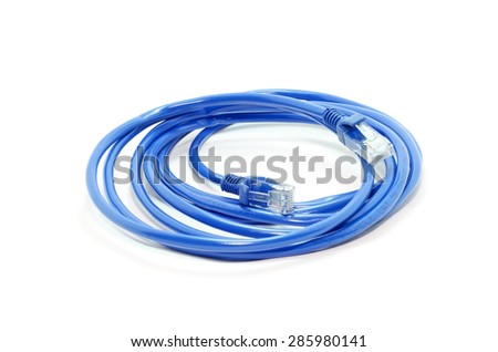 Blue network cable with jack  isolated on white background - stock photo