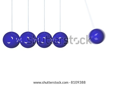 Blue Newton's cradle isolated in side view with motion blur. Render - stock photo