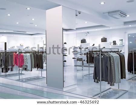 blue night fashion store - stock photo