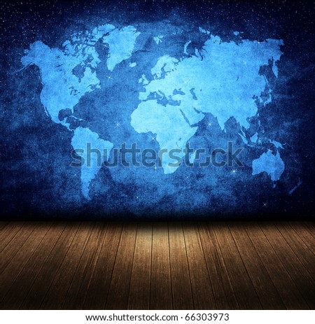 blue night grunge map in room style - stock photo