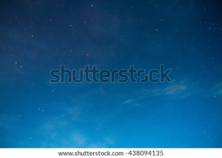 Blue night sky with stars an clouds