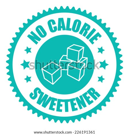 Blue No Calorie Sweetener Icon, Sticker, Badge or Label Isolated on White Background  - stock photo