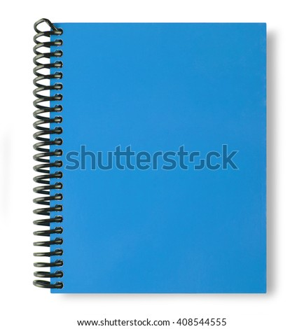 Blue note book isolate on white background with shadow - stock photo