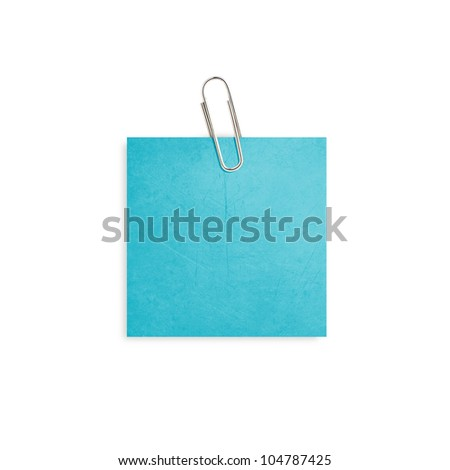 Blue note paper with paper clip on white background. - stock photo