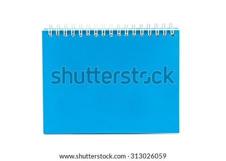 Blue notebook isolated on white background - stock photo