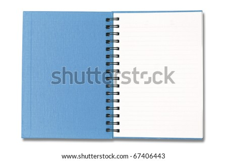Blue Notebook open on white background - stock photo